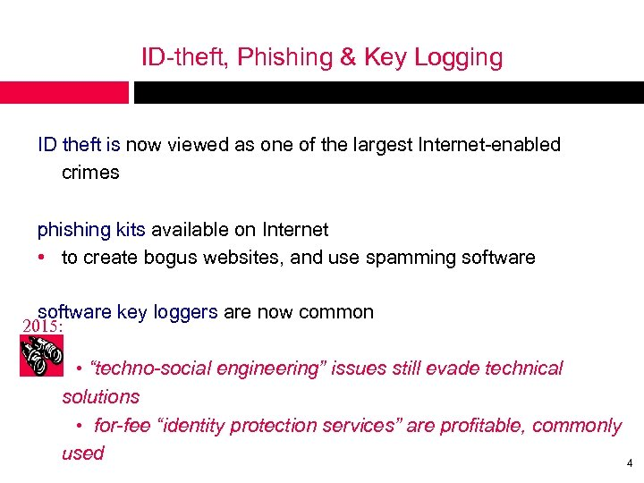 ID-theft, Phishing & Key Logging ID theft is now viewed as one of the