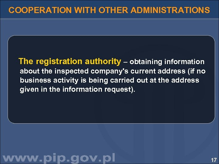 COOPERATION WITH OTHER ADMINISTRATIONS The registration authority – obtaining information about the inspected company's