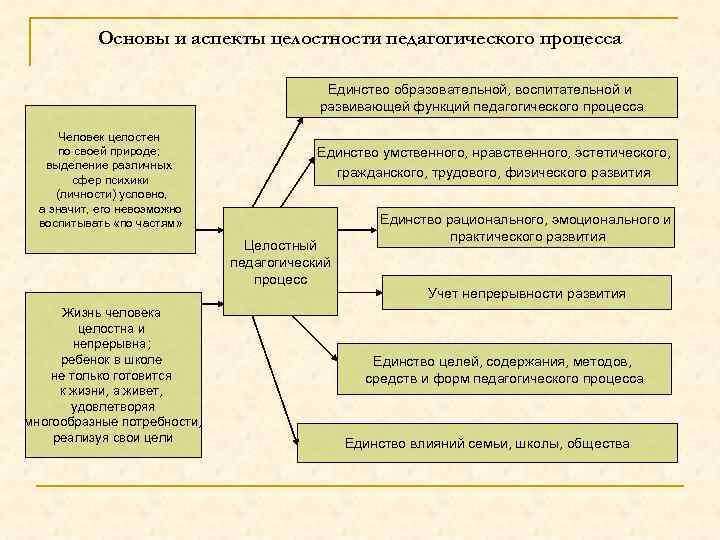 Основы и аспекты целостности педагогического процесса Единство образовательной, воспитательной и развивающей функций педагогического процесса
