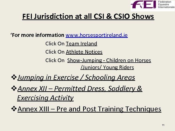 FEI Jurisdiction at all CSI & CSIO Shows 'For more information www. horsesportireland. ie