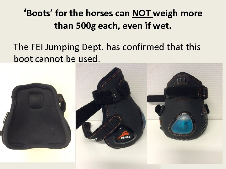 'Boots' for the horses can NOT weigh more than 500 g each, even if