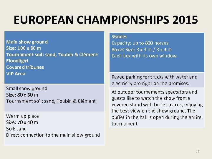 EUROPEAN CHAMPIONSHIPS 2015 Main show ground Size: 100 x 80 m Tournament soil: sand,