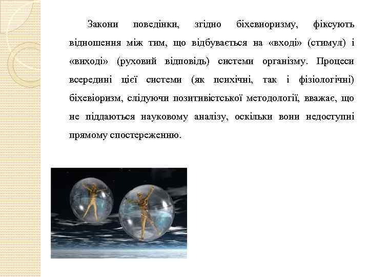 Закони поведінки, згідно біхевиоризму, фіксують відношення між тим, що відбувається на «вході» (стимул) і