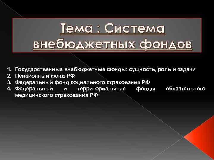 Тема : Система внебюджетных фондов 1. 2. 3. 4. Государственные внебюджетные фонды: сущность, роль