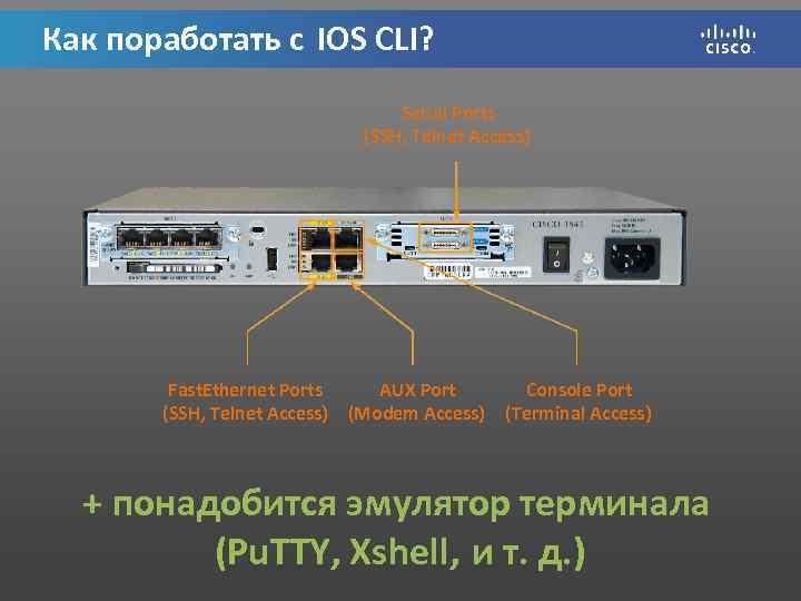 Как поработать с IOS CLI? Serial Ports (SSH, Telnet Access) Fast. Ethernet Ports AUX