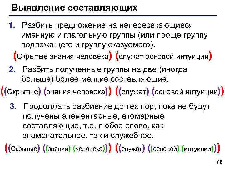 Выявление составляющих 1. Разбить предложение на непересекающиеся именную и глагольную группы (или проще группу