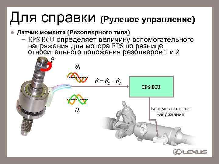 Для справки (Рулевое управление) l Датчик момента (Резолверного типа) – EPS ECU определяет величину