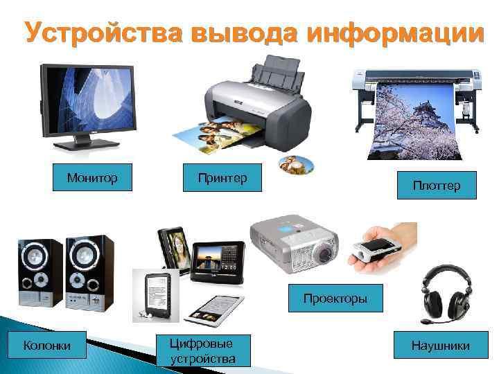 Устройства вывода информации Монитор Принтер Плоттер Проекторы Колонки Цифровые устройства Наушники