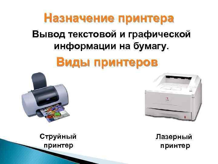 Назначение принтера Вывод текстовой и графической информации на бумагу. Виды принтеров Струйный принтер Лазерный