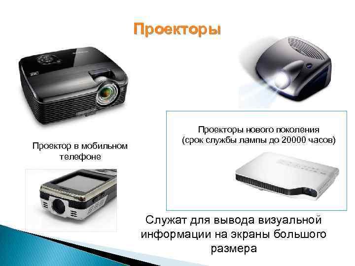 Проекторы Проектор в мобильном телефоне Проекторы нового поколения (срок службы лампы до 20000 часов)