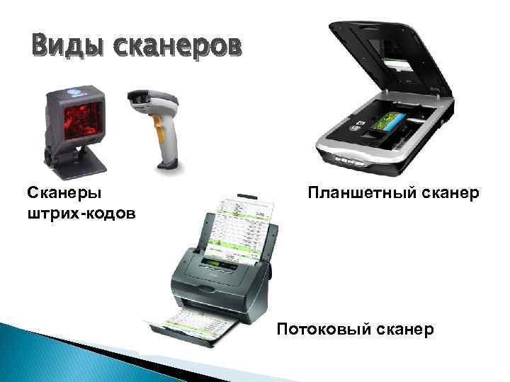Виды сканеров Сканеры штрих-кодов Планшетный сканер Потоковый сканер