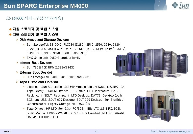 Sun SPARC Enterprise M 4000 1. 6 M 4000 서버 - 구성 요소(계속) l