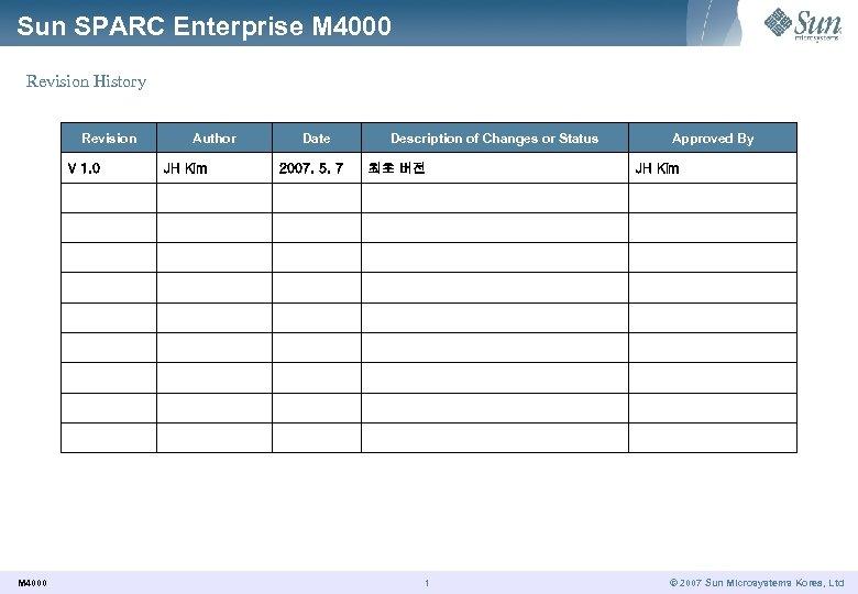 Sun SPARC Enterprise M 4000 Revision History Revision V 1. 0 M 4000 Author