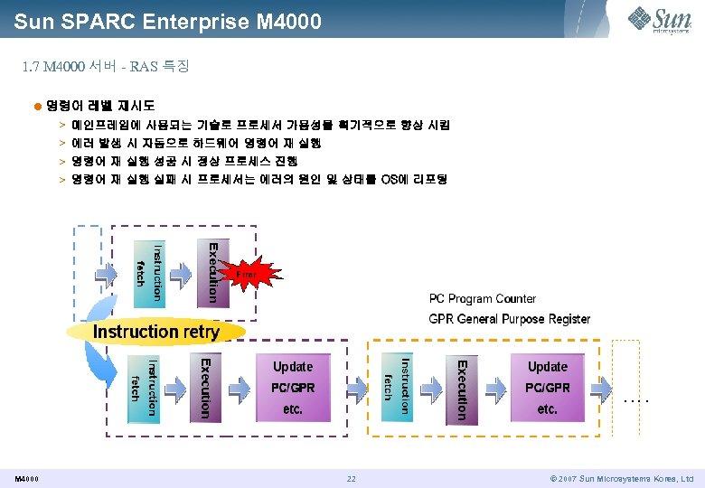 Sun SPARC Enterprise M 4000 1. 7 M 4000 서버 - RAS 특징 l
