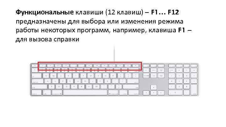 Функциональные клавиши (12 клавиш) – F 1… F 12 предназначены для выбора или изменения
