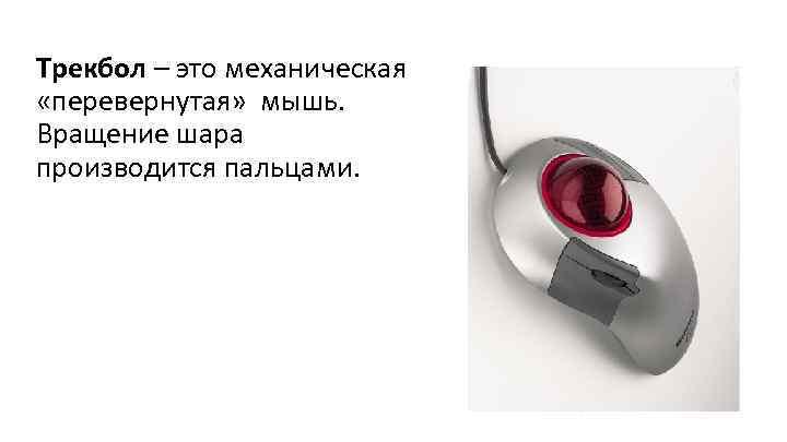 Трекбол – это механическая «перевернутая» мышь. Вращение шара производится пальцами.