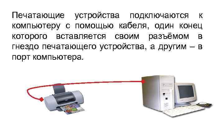 Печатающие устройства подключаются к компьютеру с помощью кабеля, один конец которого вставляется своим разъёмом