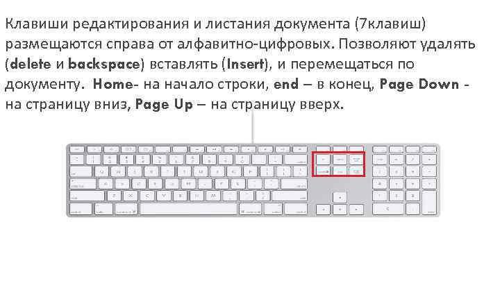 Клавиши редактирования и листания документа (7 клавиш) размещаются справа от алфавитно-цифровых. Позволяют удалять (delete