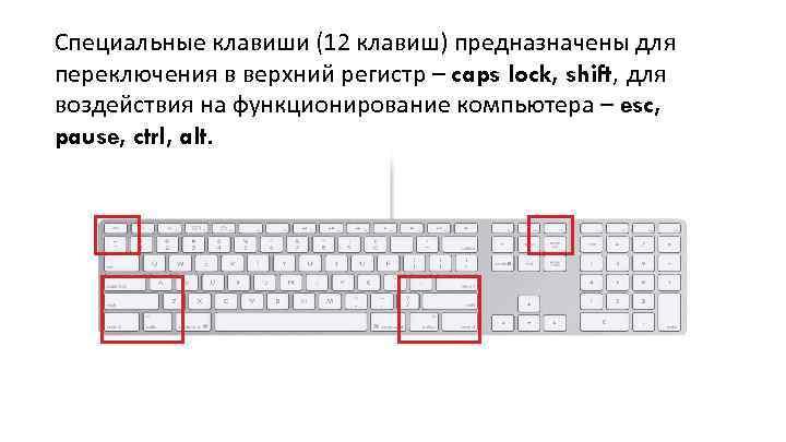 Специальные клавиши (12 клавиш) предназначены для переключения в верхний регистр – caps lock, shift,