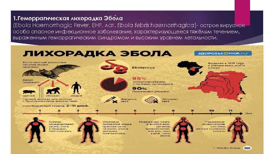 1. Геморрагическая лихорадка Эбо ла (Ebola Haemorrhagic Fever, EHF, лат. Ebola febris haemorrhagica)- острое