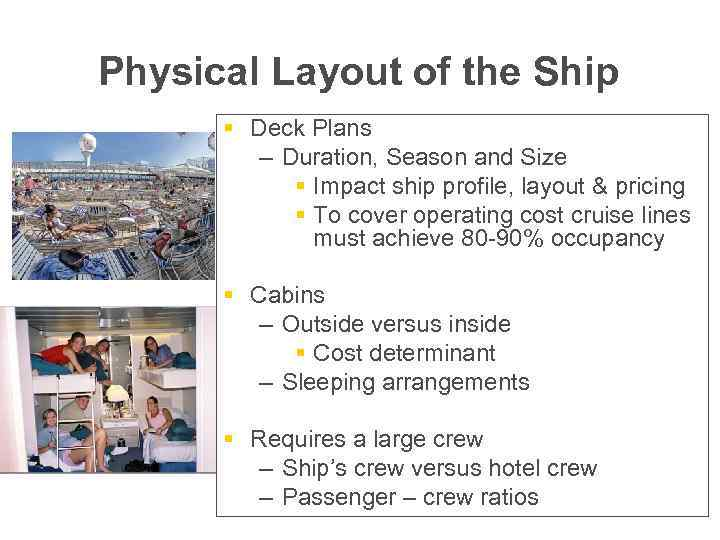 Physical Layout of the Ship § Deck Plans – Duration, Season and Size §