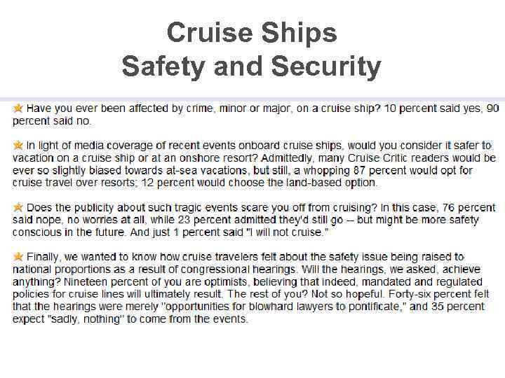 Cruise Ships Safety and Security