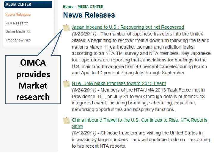 OMCA provides Market research