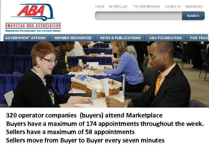 320 operator companies (buyers) attend Marketplace Buyers have a maximum of 174 appointments throughout