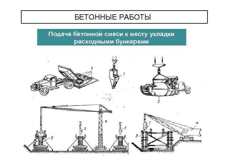 подача бетонной смеси к месту укладки в бункерах