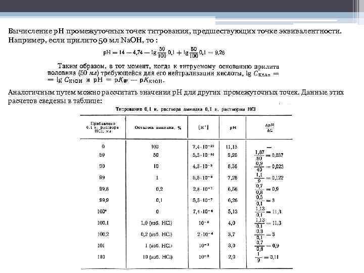 Вычисление рΗ промежуточных точек титрования, предшествующих точке эквивалентности. Например, если прилито 50 мл Na.