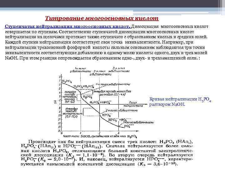 Титрование многоосновных кислот Ступенчатая нейтрализация многоосновных кислот. Диссоциация многоосновных кислот совершается по ступеням. Соответственно