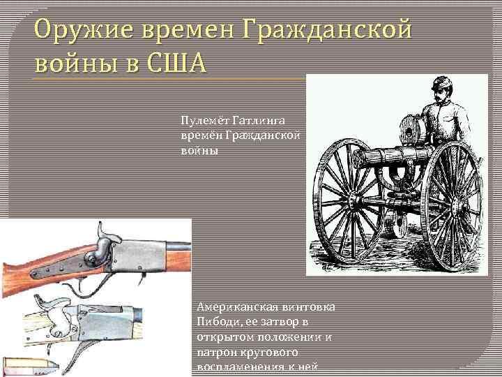 Оружие времен Гражданской войны в США Пулемёт Гатлинга времён Гражданской войны Американская винтовка Пибоди,