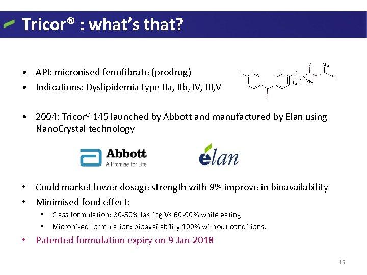 Tricor® : what's that? • API: micronised fenofibrate (prodrug) • Indications: Dyslipidemia type IIa,