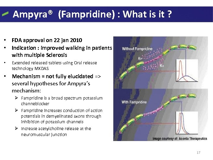 Ampyra® (Fampridine) : What is it ? • FDA approval on 22 jan 2010