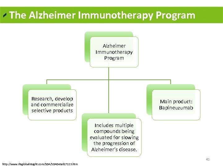 The Alzheimer Immunotherapy Program Research, develop and commercialize selective products Main product: Bapineuzumab Includes