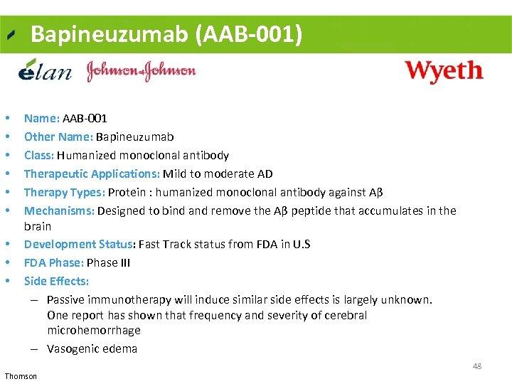 Bapineuzumab (AAB-001) • • • Name: AAB 001 Other Name: Bapineuzumab Class: Humanized monoclonal