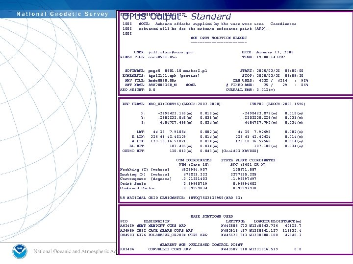 OPUS Output - Standard FILE: corv 0590. 05 o 000416827 1008 NOTE: Antenna offsets