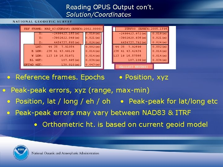 Reading OPUS Output con't. Solution/Coordinates REF FRAME: NAD_83(CORS 96)(EPOCH: 2002. 0000) X: -2498423. 165(m)