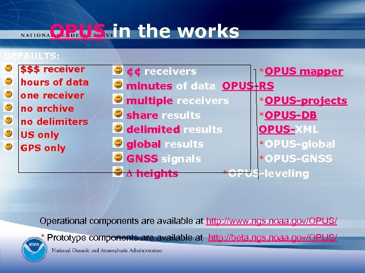 OPUS in the works DEFAULTS: $$$ receiver hours of data one receiver no archive
