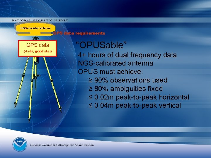 """NGS-modeled antenna GPS data requirements GPS data (4+hr, good stats) """"OPUSable"""" 4+ hours of"""