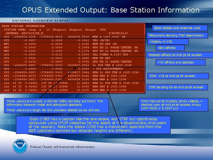 OPUS Extended Output: Base Station Information BASE STATION INFORMATION STATION NAME: newp a 10