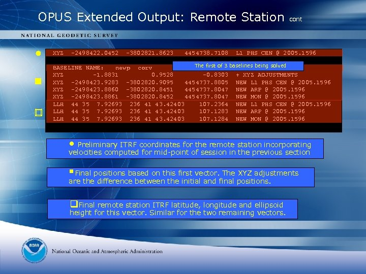 OPUS Extended Output: Remote Station XYZ -2498422. 0452 -3802821. 8623 4454738. 7108 cont L