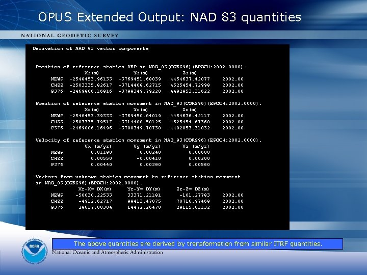 OPUS Extended Output: NAD 83 quantities Derivation of NAD 83 vector components Position of