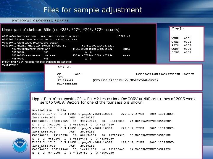 Files for sample adjustment Serfil: Upper part of skeleton Bfile (no *25*, *27*, *70*,