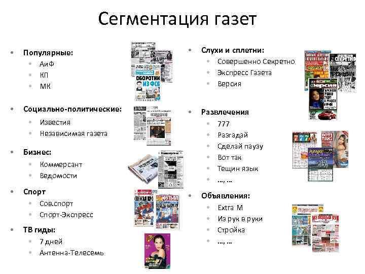 Сегментация газет • Популярные: • Аи. Ф • КП • МК • Слухи и