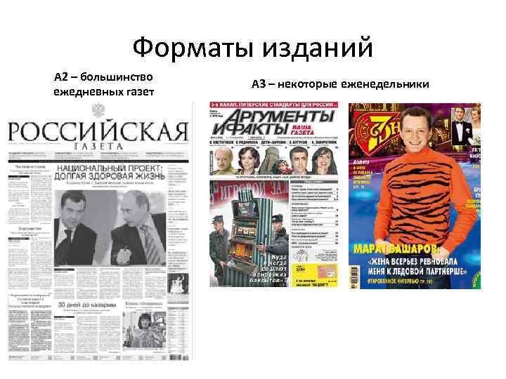 Форматы изданий А 2 – большинство ежедневных газет А 3 – некоторые еженедельники