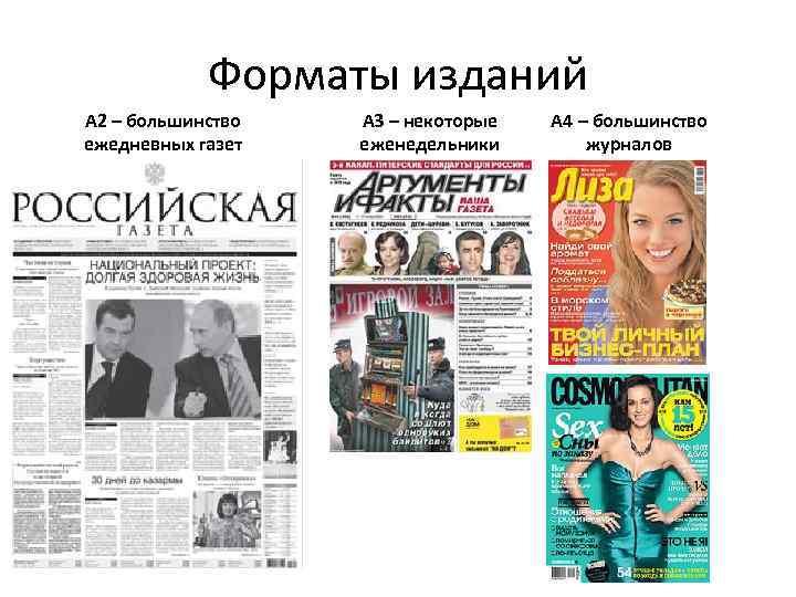 Форматы изданий А 2 – большинство ежедневных газет А 3 – некоторые еженедельники А