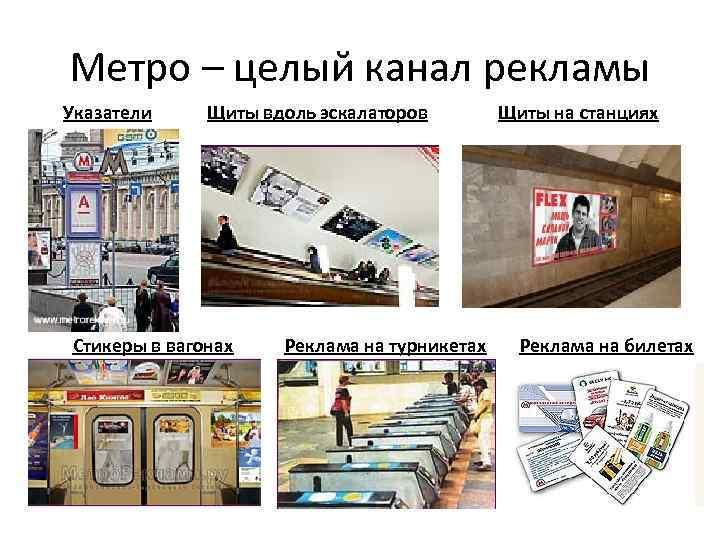 Метро – целый канал рекламы Указатели Щиты вдоль эскалаторов Стикеры в вагонах Реклама на