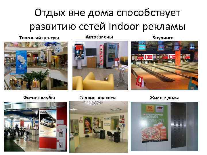 Отдых вне дома способствует развитию сетей Indoor рекламы Торговый центры Фитнес клубы Автосалоны Салоны
