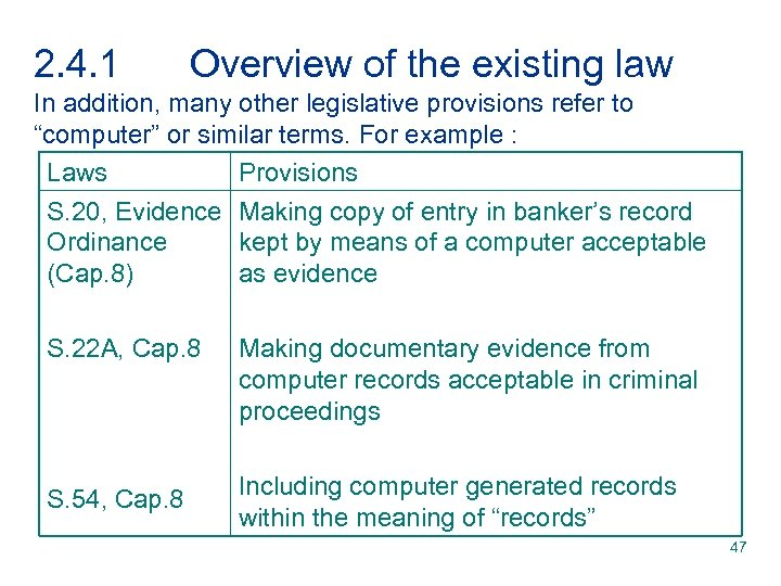 2. 4. 1 Overview of the existing law In addition, many other legislative provisions